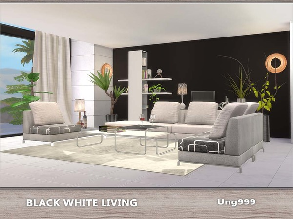 Cc salon moderno blanco y negro simlish 4 for Salon moderne sims 4